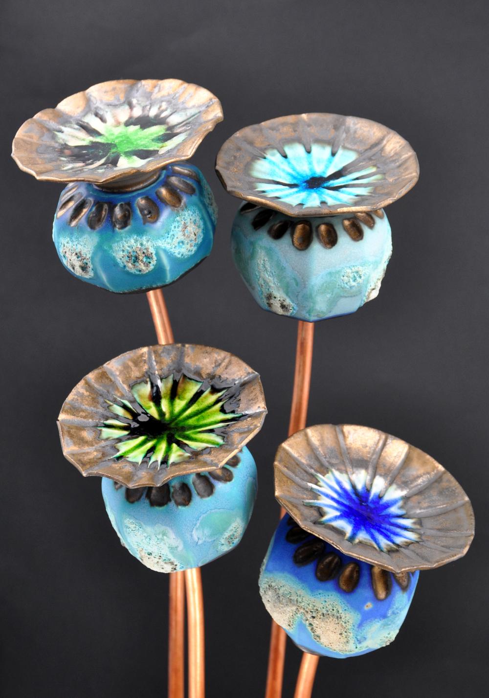 4 blue poppy seed heads