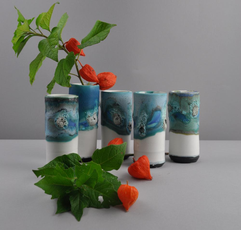 semi-matt blue windowsill vase with textured lava glaze and physaliss